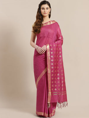 Pink Golden Solid Handwoven Saree-Saree-Kalakari India-ALBGSA0015-Hand Crafted Sustainable Fabrics, Kota Silk, Linen, Sarees, Traditional Weave-[Linen,Ethnic,wear,Fashionista,Handloom,Handicraft,Indigo,blockprint,block,print,Cotton,Chanderi,Blue, latest,classy,party,bollywood,trendy,summer,style,traditional,formal,elegant,unique,style,hand,block,print, dabu,booti,gift,present,glamorous,affordable,collectible,Sari,Saree,printed, holi, Diwali, birthday, anniversary, sustainable, organic, scarf, on