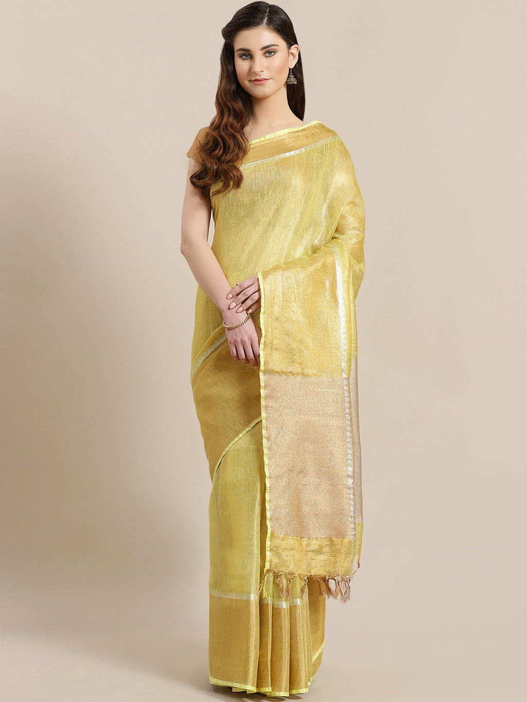 Mustard Yellow Golden Handwoven Dual-Tone Saree-Saree-Kalakari India-ALBGSA0016-Hand Woven, Sarees, Sustainable Fabrics, Tissue, Traditional Weave-[Linen,Ethnic,wear,Fashionista,Handloom,Handicraft,Indigo,blockprint,block,print,Cotton,Chanderi,Blue, latest,classy,party,bollywood,trendy,summer,style,traditional,formal,elegant,unique,style,hand,block,print, dabu,booti,gift,present,glamorous,affordable,collectible,Sari,Saree,printed, holi, Diwali, birthday, anniversary, sustainable, organic, scarf,
