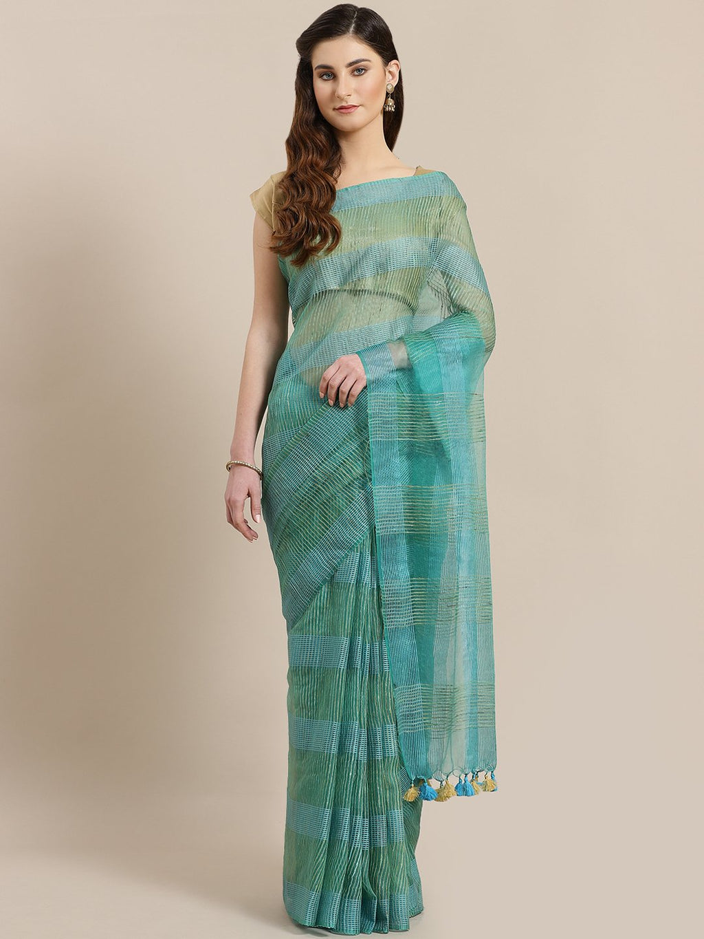 Blue Green Zari Handwoven Checked Saree-Saree-Kalakari India-ALBGSA0018-Hand Crafted Sustainable Fabrics, Kota Silk, Linen, Sarees, Traditional Weave-[Linen,Ethnic,wear,Fashionista,Handloom,Handicraft,Indigo,blockprint,block,print,Cotton,Chanderi,Blue, latest,classy,party,bollywood,trendy,summer,style,traditional,formal,elegant,unique,style,hand,block,print, dabu,booti,gift,present,glamorous,affordable,collectible,Sari,Saree,printed, holi, Diwali, birthday, anniversary, sustainable, organic, sca