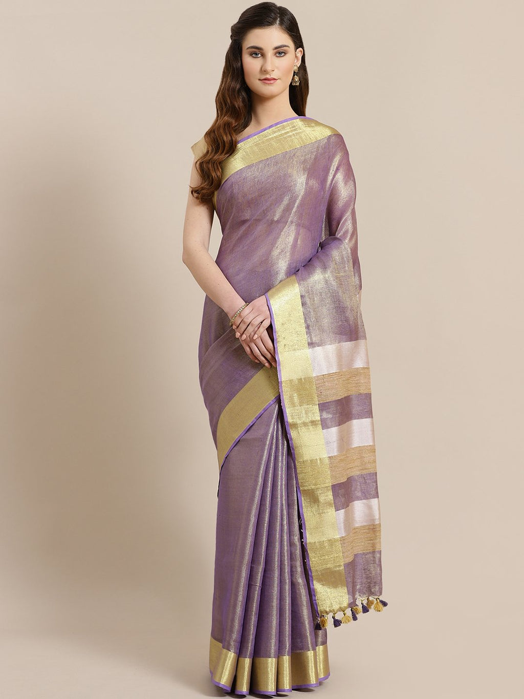 Purple Golden Dual Tone Solid Handwoven Saree-Saree-Kalakari India-ALBGSA0019-Hand Woven, Sarees, Sustainable Fabrics, Tissue, Traditional Weave-[Linen,Ethnic,wear,Fashionista,Handloom,Handicraft,Indigo,blockprint,block,print,Cotton,Chanderi,Blue, latest,classy,party,bollywood,trendy,summer,style,traditional,formal,elegant,unique,style,hand,block,print, dabu,booti,gift,present,glamorous,affordable,collectible,Sari,Saree,printed, holi, Diwali, birthday, anniversary, sustainable, organic, scarf, o