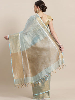 Blue Golden Dual Tone Tissue Woven Design Saree-Saree-Kalakari India-ALBGSA0020-Hand Woven, Sarees, Sustainable Fabrics, Tissue, Traditional Weave-[Linen,Ethnic,wear,Fashionista,Handloom,Handicraft,Indigo,blockprint,block,print,Cotton,Chanderi,Blue, latest,classy,party,bollywood,trendy,summer,style,traditional,formal,elegant,unique,style,hand,block,print, dabu,booti,gift,present,glamorous,affordable,collectible,Sari,Saree,printed, holi, Diwali, birthday, anniversary, sustainable, organic, scarf,
