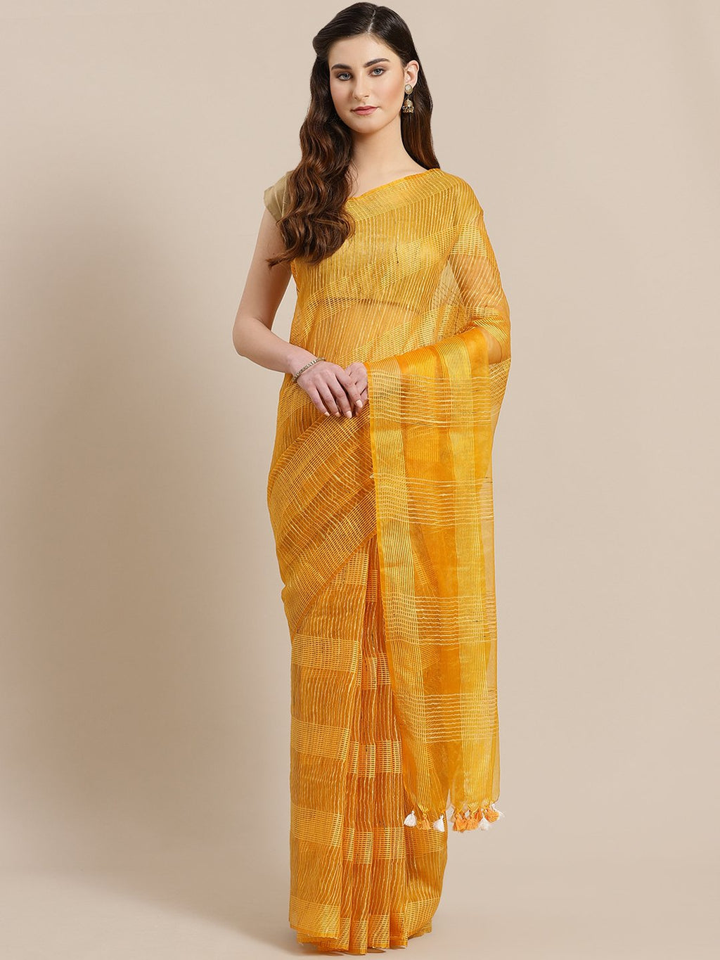 Mustard Yellow Self-Checked Handwoven Saree-Saree-Kalakari India-ALBGSA0024-Hand Crafted Sustainable Fabrics, Kota Silk, Linen, Sarees, Traditional Weave-[Linen,Ethnic,wear,Fashionista,Handloom,Handicraft,Indigo,blockprint,block,print,Cotton,Chanderi,Blue, latest,classy,party,bollywood,trendy,summer,style,traditional,formal,elegant,unique,style,hand,block,print, dabu,booti,gift,present,glamorous,affordable,collectible,Sari,Saree,printed, holi, Diwali, birthday, anniversary, sustainable, organic,