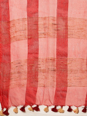 Red Beige Self-Checked Handwoven Saree-Saree-Kalakari India-ALBGSA0025-Hand Crafted Sustainable Fabrics, Kota Silk, Linen, Sarees, Traditional Weave-[Linen,Ethnic,wear,Fashionista,Handloom,Handicraft,Indigo,blockprint,block,print,Cotton,Chanderi,Blue, latest,classy,party,bollywood,trendy,summer,style,traditional,formal,elegant,unique,style,hand,block,print, dabu,booti,gift,present,glamorous,affordable,collectible,Sari,Saree,printed, holi, Diwali, birthday, anniversary, sustainable, organic, scar