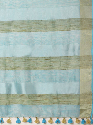 Blue Golden Dual Tone Solid Handwoven Saree-Saree-Kalakari India-ALBGSA0026-Hand Woven, Sarees, Sustainable Fabrics, Tissue, Traditional Weave-[Linen,Ethnic,wear,Fashionista,Handloom,Handicraft,Indigo,blockprint,block,print,Cotton,Chanderi,Blue, latest,classy,party,bollywood,trendy,summer,style,traditional,formal,elegant,unique,style,hand,block,print, dabu,booti,gift,present,glamorous,affordable,collectible,Sari,Saree,printed, holi, Diwali, birthday, anniversary, sustainable, organic, scarf, onl