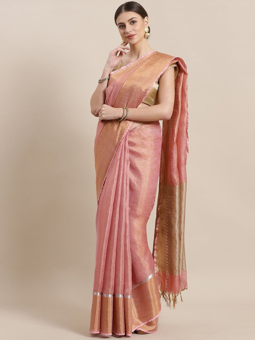 Pink Golden Dual Tone Tissue Woven Design Saree-Saree-Kalakari India-ALBGSA0028-Hand Woven, Sarees, Sustainable Fabrics, Tissue, Traditional Weave-[Linen,Ethnic,wear,Fashionista,Handloom,Handicraft,Indigo,blockprint,block,print,Cotton,Chanderi,Blue, latest,classy,party,bollywood,trendy,summer,style,traditional,formal,elegant,unique,style,hand,block,print, dabu,booti,gift,present,glamorous,affordable,collectible,Sari,Saree,printed, holi, Diwali, birthday, anniversary, sustainable, organic, scarf,