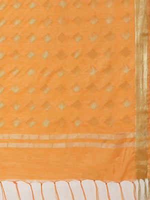 Orange Golden Handcrafted Handwoven Zari Woven Design Saree-Saree-Kalakari India-ALBGSA0029-Hand Crafted Sustainable Fabrics, Kota Silk, Linen, Sarees, Traditional Weave-[Linen,Ethnic,wear,Fashionista,Handloom,Handicraft,Indigo,blockprint,block,print,Cotton,Chanderi,Blue, latest,classy,party,bollywood,trendy,summer,style,traditional,formal,elegant,unique,style,hand,block,print, dabu,booti,gift,present,glamorous,affordable,collectible,Sari,Saree,printed, holi, Diwali, birthday, anniversary, susta