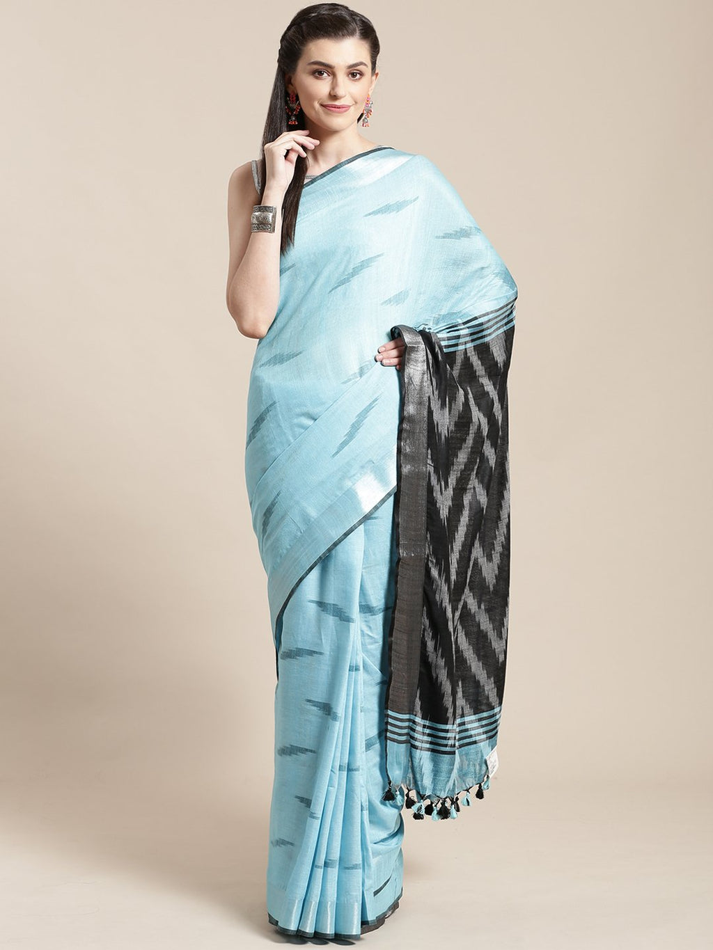 Linen Handwoven Saree and Blouse-Saree-Kalakari India-ALBGSA0032-Hand Woven, Linen, Sarees, Sustainable Fabrics, Traditional Weave-[Linen,Ethnic,wear,Fashionista,Handloom,Handicraft,Indigo,blockprint,block,print,Cotton,Chanderi,Blue, latest,classy,party,bollywood,trendy,summer,style,traditional,formal,elegant,unique,style,hand,block,print, dabu,booti,gift,present,glamorous,affordable,collectible,Sari,Saree,printed, holi, Diwali, birthday, anniversary, sustainable, organic, scarf, online, low pri