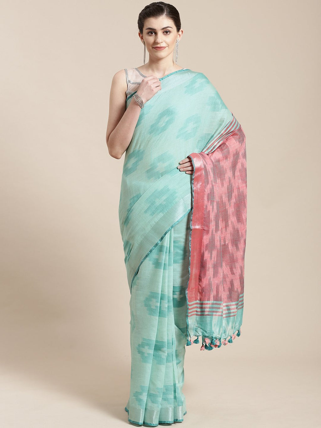 Linen Handwoven Saree and Blouse-Saree-Kalakari India-ALBGSA0033-Hand Woven, Linen, Sarees, Sustainable Fabrics, Traditional Weave-[Linen,Ethnic,wear,Fashionista,Handloom,Handicraft,Indigo,blockprint,block,print,Cotton,Chanderi,Blue, latest,classy,party,bollywood,trendy,summer,style,traditional,formal,elegant,unique,style,hand,block,print, dabu,booti,gift,present,glamorous,affordable,collectible,Sari,Saree,printed, holi, Diwali, birthday, anniversary, sustainable, organic, scarf, online, low pri