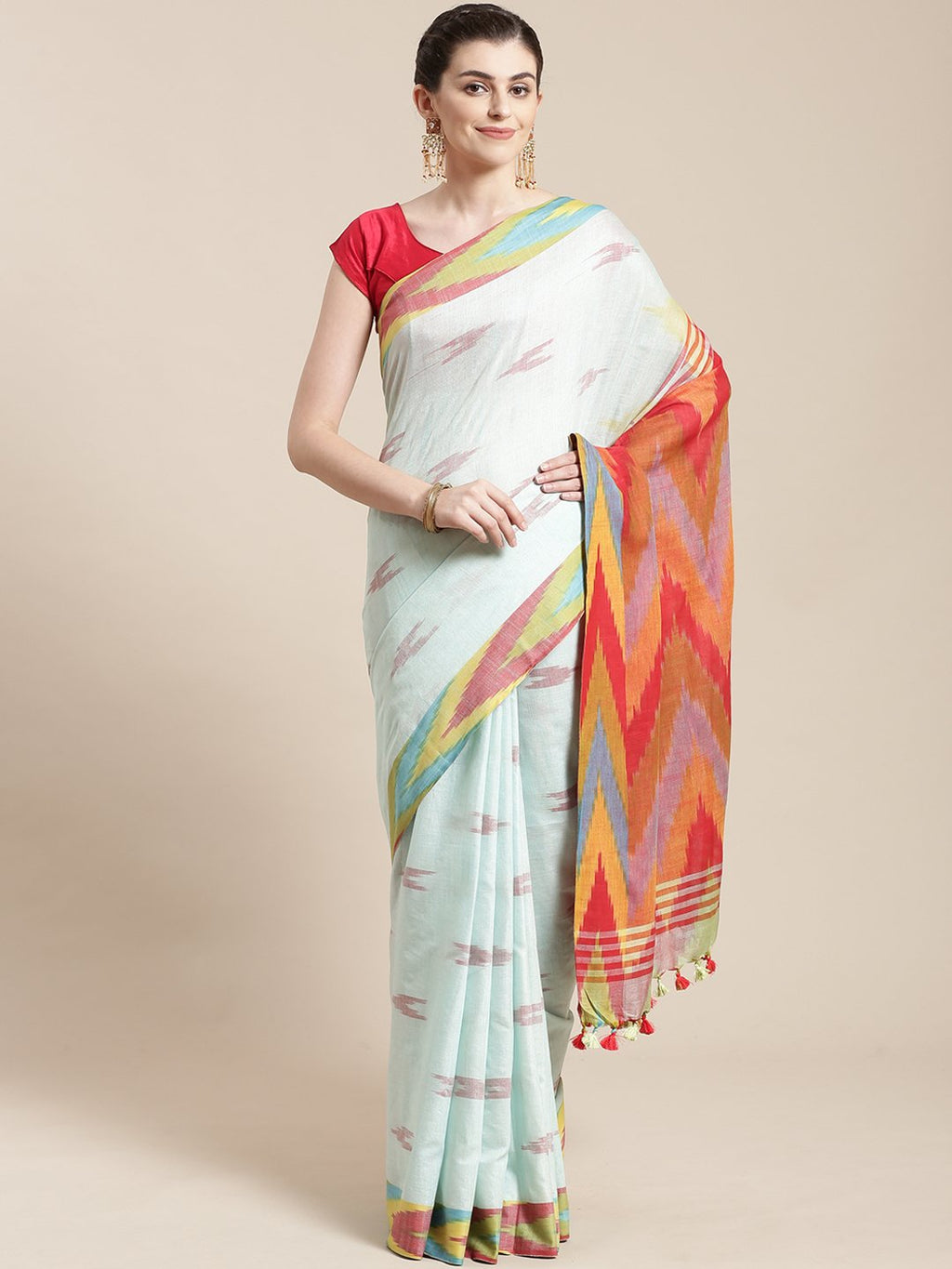 Linen Handwoven Saree and Blouse-Saree-Kalakari India-ALBGSA0034-Hand Woven, Linen, Sarees, Sustainable Fabrics, Traditional Weave-[Linen,Ethnic,wear,Fashionista,Handloom,Handicraft,Indigo,blockprint,block,print,Cotton,Chanderi,Blue, latest,classy,party,bollywood,trendy,summer,style,traditional,formal,elegant,unique,style,hand,block,print, dabu,booti,gift,present,glamorous,affordable,collectible,Sari,Saree,printed, holi, Diwali, birthday, anniversary, sustainable, organic, scarf, online, low pri