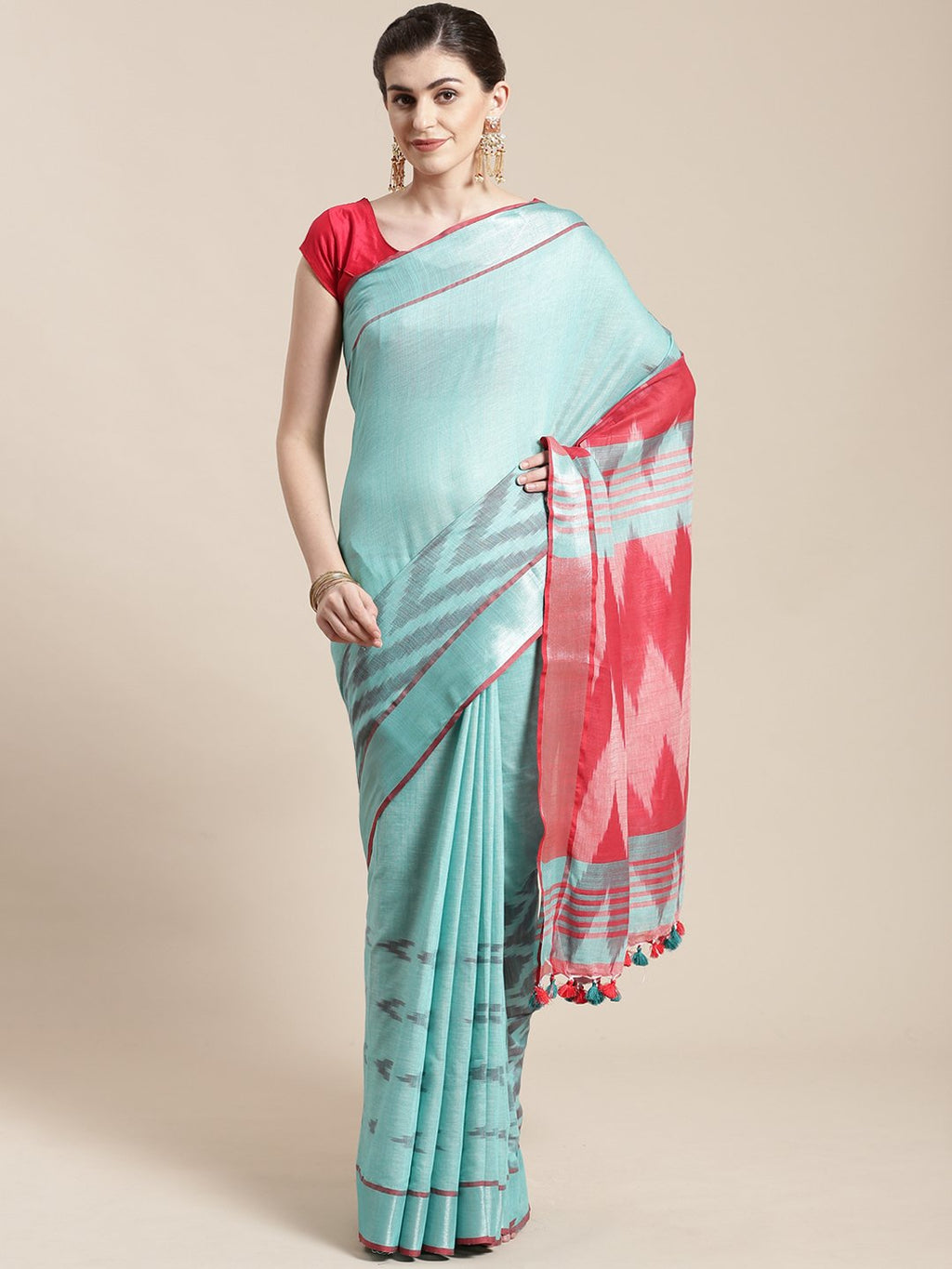 Linen Handwoven Saree and Blouse-Saree-Kalakari India-ALBGSA0035-Hand Woven, Linen, Sarees, Sustainable Fabrics, Traditional Weave-[Linen,Ethnic,wear,Fashionista,Handloom,Handicraft,Indigo,blockprint,block,print,Cotton,Chanderi,Blue, latest,classy,party,bollywood,trendy,summer,style,traditional,formal,elegant,unique,style,hand,block,print, dabu,booti,gift,present,glamorous,affordable,collectible,Sari,Saree,printed, holi, Diwali, birthday, anniversary, sustainable, organic, scarf, online, low pri