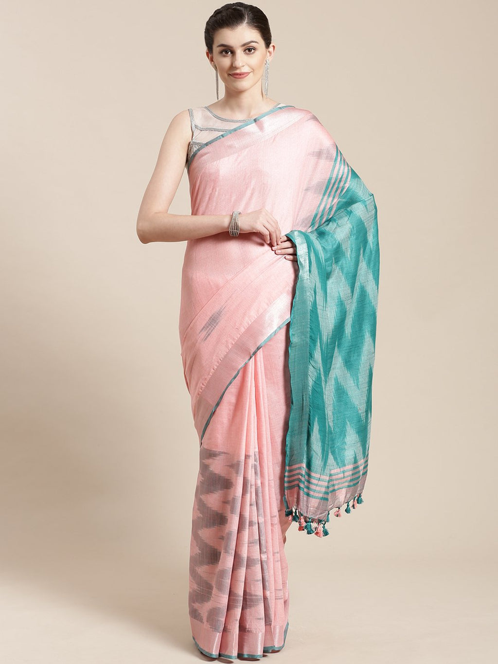 Linen Handwoven Saree and Blouse-Saree-Kalakari India-ALBGSA0037-Hand Woven, Linen, Sarees, Sustainable Fabrics, Traditional Weave-[Linen,Ethnic,wear,Fashionista,Handloom,Handicraft,Indigo,blockprint,block,print,Cotton,Chanderi,Blue, latest,classy,party,bollywood,trendy,summer,style,traditional,formal,elegant,unique,style,hand,block,print, dabu,booti,gift,present,glamorous,affordable,collectible,Sari,Saree,printed, holi, Diwali, birthday, anniversary, sustainable, organic, scarf, online, low pri
