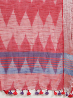 Linen Handwoven Saree and Blouse-Saree-Kalakari India-ALBGSA0039-Hand Woven, Linen, Sarees, Sustainable Fabrics, Traditional Weave-[Linen,Ethnic,wear,Fashionista,Handloom,Handicraft,Indigo,blockprint,block,print,Cotton,Chanderi,Blue, latest,classy,party,bollywood,trendy,summer,style,traditional,formal,elegant,unique,style,hand,block,print, dabu,booti,gift,present,glamorous,affordable,collectible,Sari,Saree,printed, holi, Diwali, birthday, anniversary, sustainable, organic, scarf, online, low pri