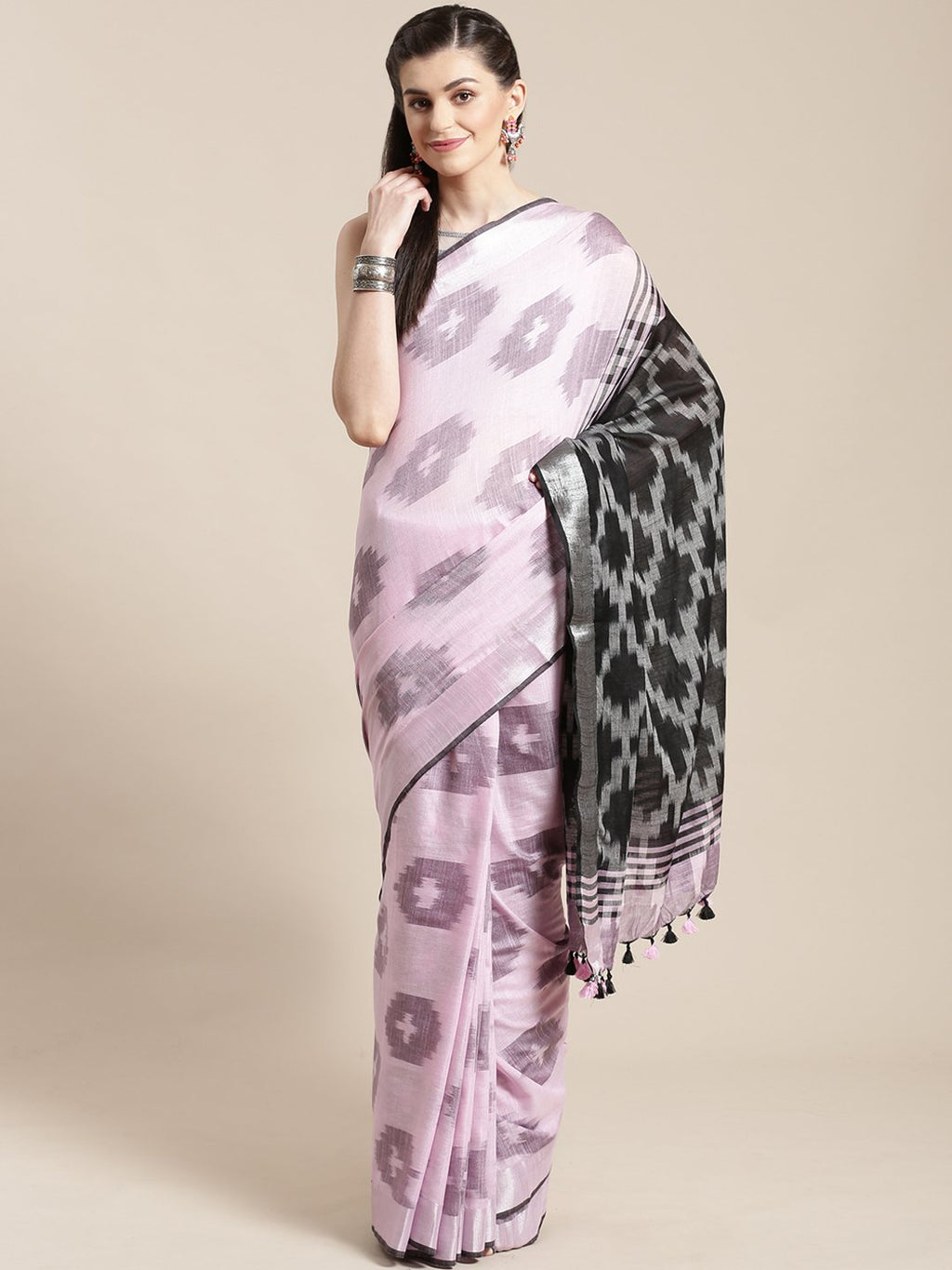 Linen Handwoven Saree and Blouse-Saree-Kalakari India-ALBGSA0042-Hand Woven, Linen, Sarees, Sustainable Fabrics, Traditional Weave-[Linen,Ethnic,wear,Fashionista,Handloom,Handicraft,Indigo,blockprint,block,print,Cotton,Chanderi,Blue, latest,classy,party,bollywood,trendy,summer,style,traditional,formal,elegant,unique,style,hand,block,print, dabu,booti,gift,present,glamorous,affordable,collectible,Sari,Saree,printed, holi, Diwali, birthday, anniversary, sustainable, organic, scarf, online, low pri