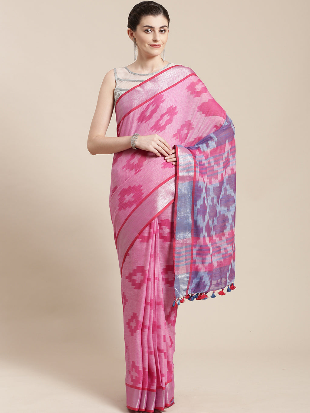 Linen Handwoven Saree and Blouse-Saree-Kalakari India-ALBGSA0043-Hand Woven, Linen, Sarees, Sustainable Fabrics, Traditional Weave-[Linen,Ethnic,wear,Fashionista,Handloom,Handicraft,Indigo,blockprint,block,print,Cotton,Chanderi,Blue, latest,classy,party,bollywood,trendy,summer,style,traditional,formal,elegant,unique,style,hand,block,print, dabu,booti,gift,present,glamorous,affordable,collectible,Sari,Saree,printed, holi, Diwali, birthday, anniversary, sustainable, organic, scarf, online, low pri