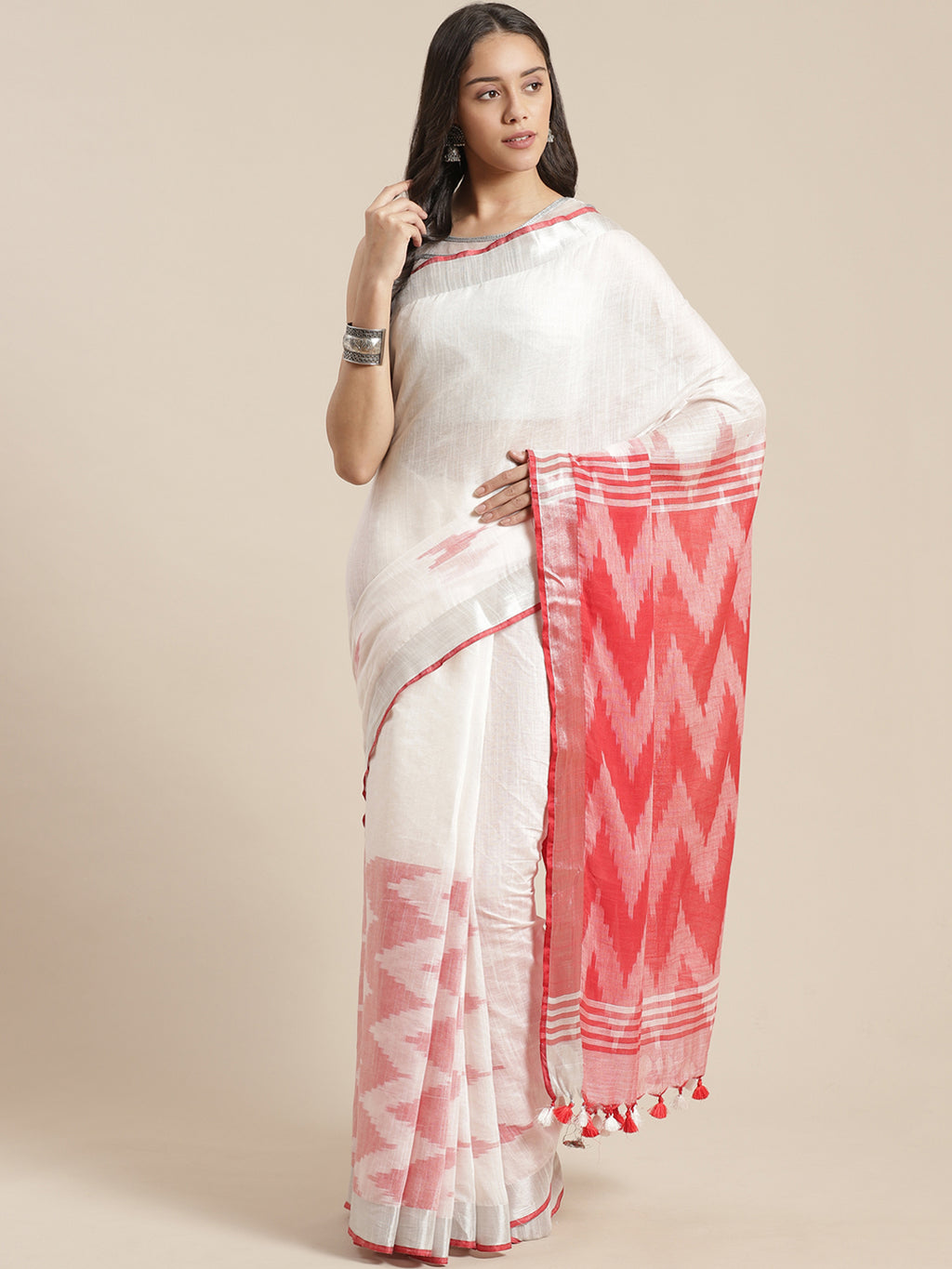 Linen Handwoven Saree and Blouse-Saree-Kalakari India-ALBGSA0044-Hand Woven, Linen, Sarees, Sustainable Fabrics, Traditional Weave-[Linen,Ethnic,wear,Fashionista,Handloom,Handicraft,Indigo,blockprint,block,print,Cotton,Chanderi,Blue, latest,classy,party,bollywood,trendy,summer,style,traditional,formal,elegant,unique,style,hand,block,print, dabu,booti,gift,present,glamorous,affordable,collectible,Sari,Saree,printed, holi, Diwali, birthday, anniversary, sustainable, organic, scarf, online, low pri