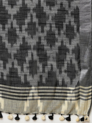 Linen Handwoven Saree and Blouse-Saree-Kalakari India-ALBGSA0046-Hand Woven, Linen, Sarees, Sustainable Fabrics, Traditional Weave-[Linen,Ethnic,wear,Fashionista,Handloom,Handicraft,Indigo,blockprint,block,print,Cotton,Chanderi,Blue, latest,classy,party,bollywood,trendy,summer,style,traditional,formal,elegant,unique,style,hand,block,print, dabu,booti,gift,present,glamorous,affordable,collectible,Sari,Saree,printed, holi, Diwali, birthday, anniversary, sustainable, organic, scarf, online, low pri