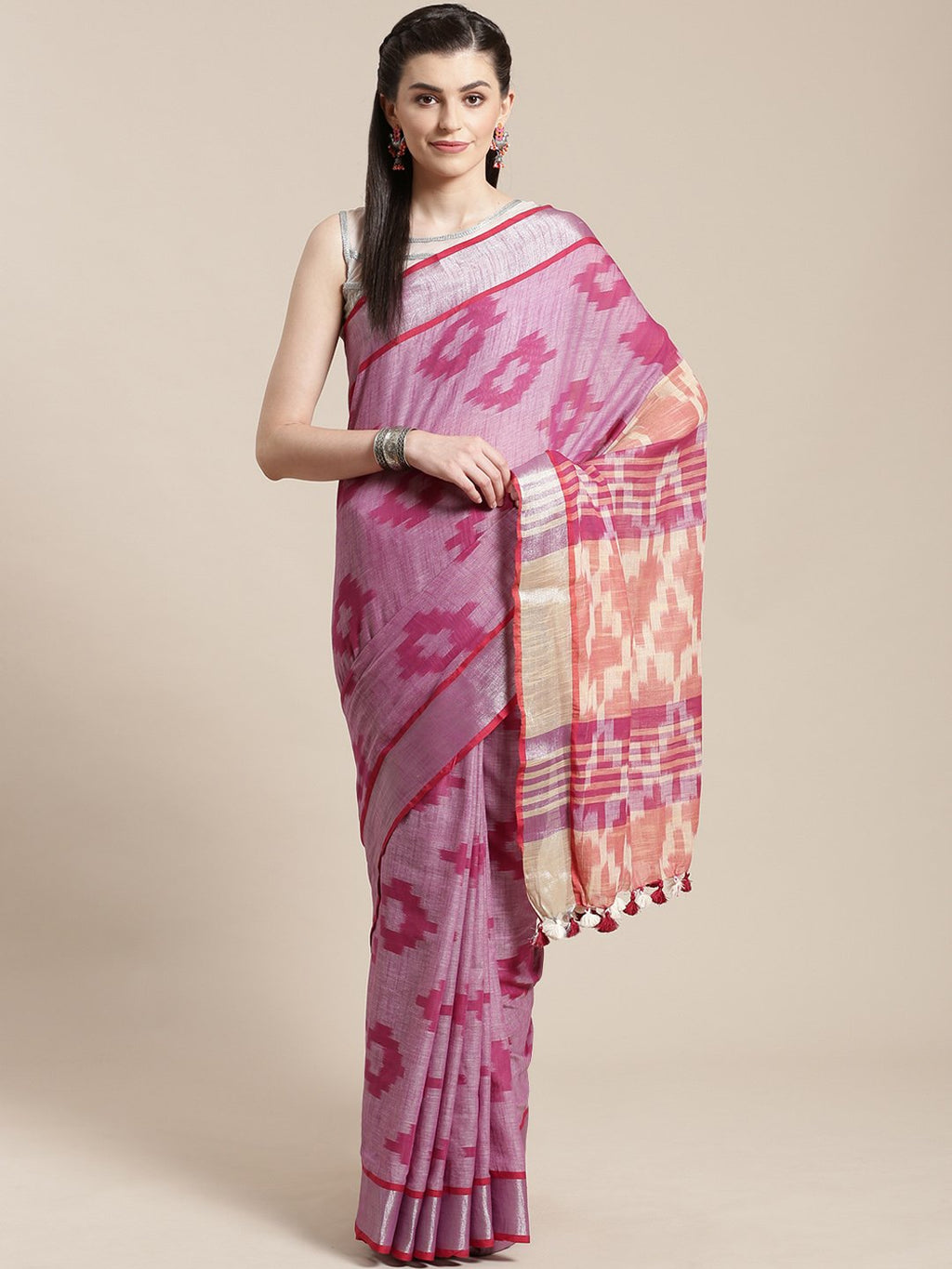 Linen Handwoven Saree and Blouse-Saree-Kalakari India-ALBGSA0047-Hand Woven, Linen, Sarees, Sustainable Fabrics, Traditional Weave-[Linen,Ethnic,wear,Fashionista,Handloom,Handicraft,Indigo,blockprint,block,print,Cotton,Chanderi,Blue, latest,classy,party,bollywood,trendy,summer,style,traditional,formal,elegant,unique,style,hand,block,print, dabu,booti,gift,present,glamorous,affordable,collectible,Sari,Saree,printed, holi, Diwali, birthday, anniversary, sustainable, organic, scarf, online, low pri