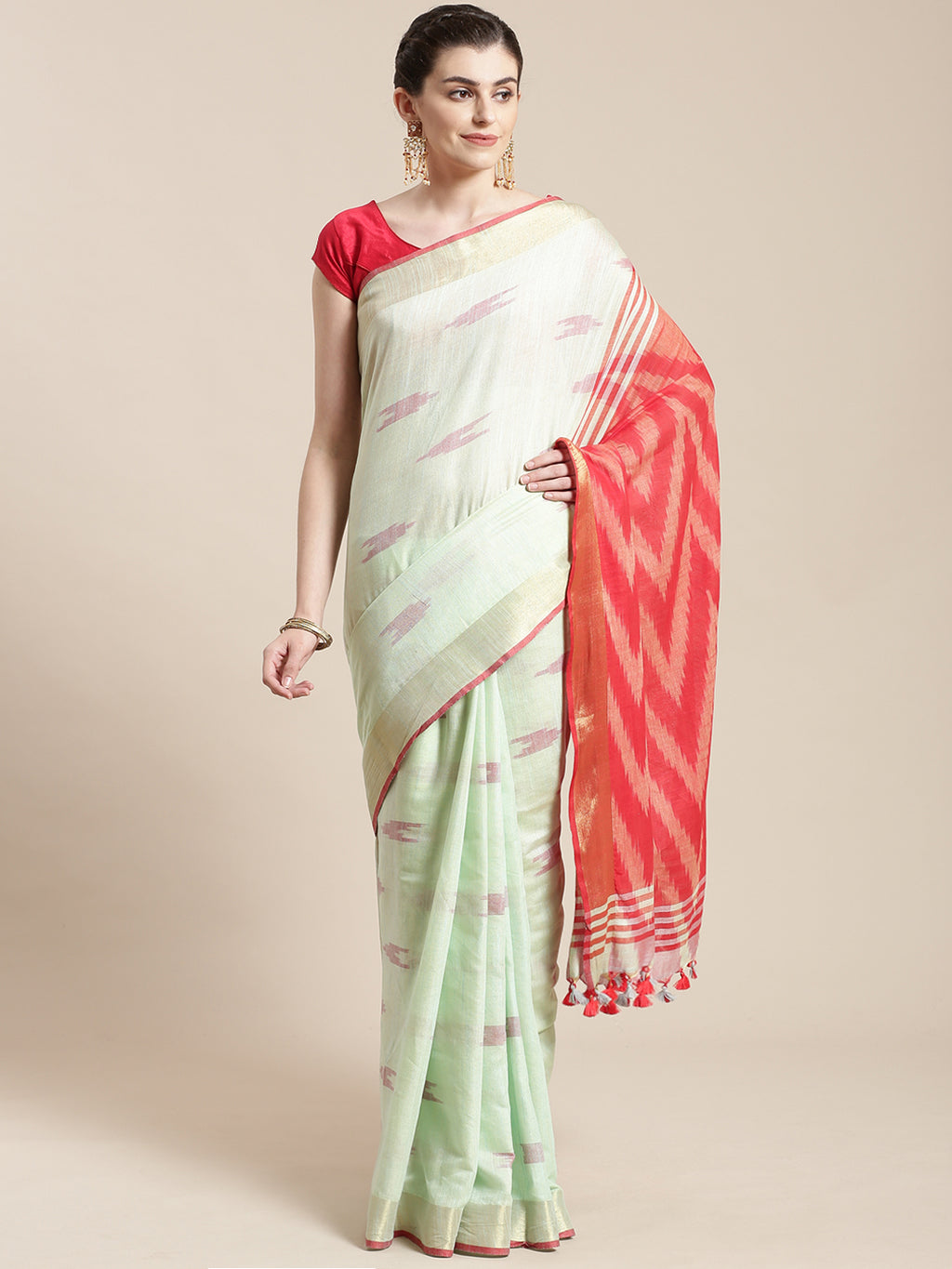 Linen Handwoven Saree and Blouse-Saree-Kalakari India-ALBGSA0048-Hand Woven, Linen, Sarees, Sustainable Fabrics, Traditional Weave-[Linen,Ethnic,wear,Fashionista,Handloom,Handicraft,Indigo,blockprint,block,print,Cotton,Chanderi,Blue, latest,classy,party,bollywood,trendy,summer,style,traditional,formal,elegant,unique,style,hand,block,print, dabu,booti,gift,present,glamorous,affordable,collectible,Sari,Saree,printed, holi, Diwali, birthday, anniversary, sustainable, organic, scarf, online, low pri