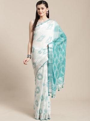 Linen Handwoven Saree and Blouse-Saree-Kalakari India-ALBGSA0049-Hand Woven, Linen, Sarees, Sustainable Fabrics, Traditional Weave-[Linen,Ethnic,wear,Fashionista,Handloom,Handicraft,Indigo,blockprint,block,print,Cotton,Chanderi,Blue, latest,classy,party,bollywood,trendy,summer,style,traditional,formal,elegant,unique,style,hand,block,print, dabu,booti,gift,present,glamorous,affordable,collectible,Sari,Saree,printed, holi, Diwali, birthday, anniversary, sustainable, organic, scarf, online, low pri