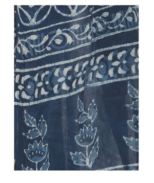Indigo Dabu Hand Block Print Handcrafted Cotton Saree-Saree-Kalakari India-BAPASA0011-Cotton, Dabu, Geographical Indication, Hand Blocks, Hand Crafted, Heritage Prints, Indigo, Natural Dyes, Sarees, Sustainable Fabrics-[Linen,Ethnic,wear,Fashionista,Handloom,Handicraft,Indigo,blockprint,block,print,Cotton,Chanderi,Blue, latest,classy,party,bollywood,trendy,summer,style,traditional,formal,elegant,unique,style,hand,block,print, dabu,booti,gift,present,glamorous,affordable,collectible,Sari,Saree,pr