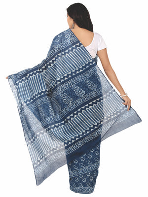Indigo Dabu Hand Block Print Handcrafted Cotton Saree-Saree-Kalakari India-BAPASA0012-Cotton, Dabu, Geographical Indication, Hand Blocks, Hand Crafted, Heritage Prints, Indigo, Natural Dyes, Sarees, Sustainable Fabrics-[Linen,Ethnic,wear,Fashionista,Handloom,Handicraft,Indigo,blockprint,block,print,Cotton,Chanderi,Blue, latest,classy,party,bollywood,trendy,summer,style,traditional,formal,elegant,unique,style,hand,block,print, dabu,booti,gift,present,glamorous,affordable,collectible,Sari,Saree,pr