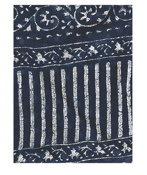 Indigo Dabu Hand Block Print Handcrafted Cotton Saree-Saree-Kalakari India-BAPASA0013-Cotton, Dabu, Geographical Indication, Hand Blocks, Hand Crafted, Heritage Prints, Indigo, Natural Dyes, Sarees, Sustainable Fabrics-[Linen,Ethnic,wear,Fashionista,Handloom,Handicraft,Indigo,blockprint,block,print,Cotton,Chanderi,Blue, latest,classy,party,bollywood,trendy,summer,style,traditional,formal,elegant,unique,style,hand,block,print, dabu,booti,gift,present,glamorous,affordable,collectible,Sari,Saree,pr