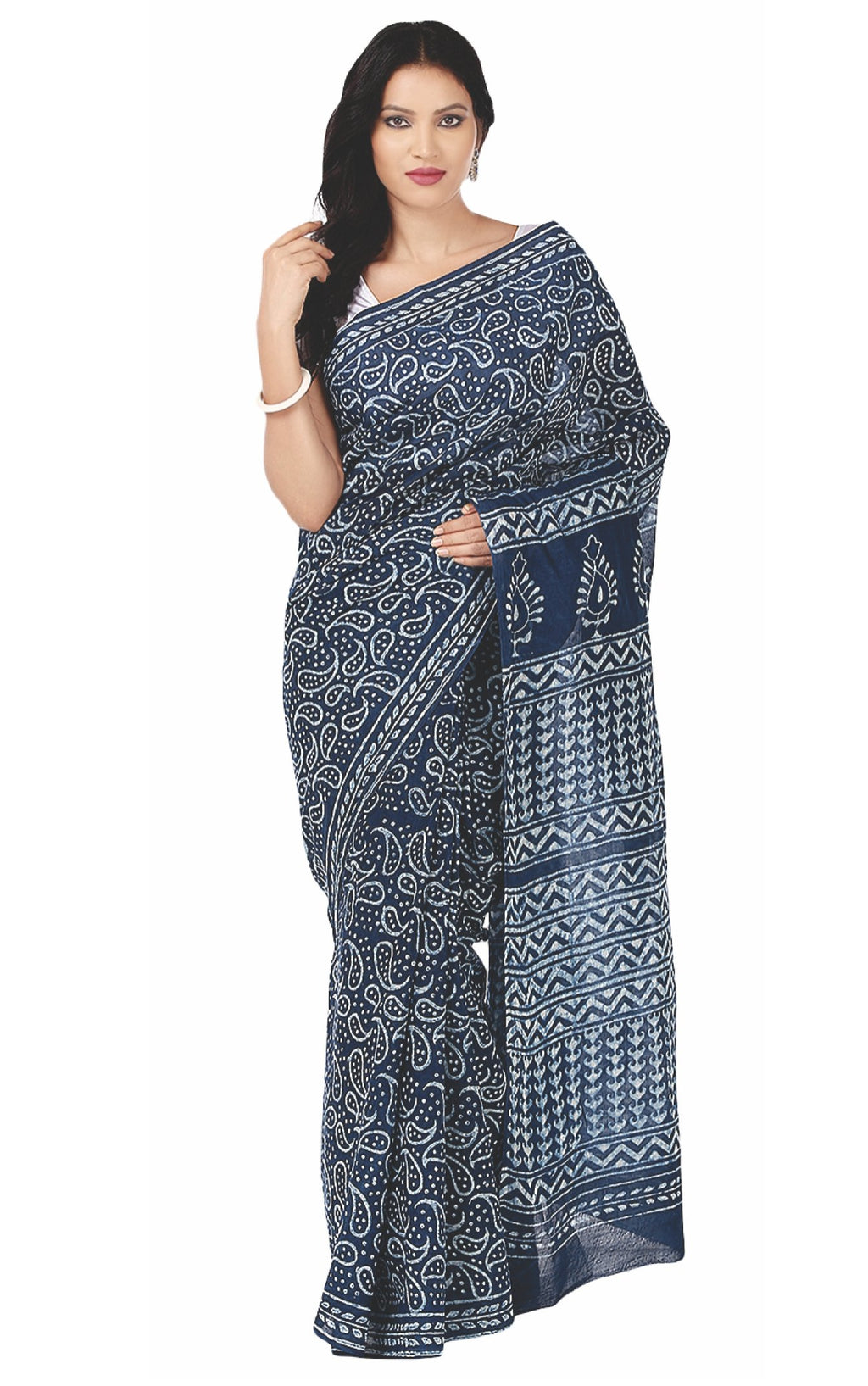 Indigo Dabu Hand Block Print Handcrafted Cotton Saree-Saree-Kalakari India-BAPASA0014-Cotton, Dabu, Geographical Indication, Hand Blocks, Hand Crafted, Heritage Prints, Indigo, Natural Dyes, Sarees, Sustainable Fabrics-[Linen,Ethnic,wear,Fashionista,Handloom,Handicraft,Indigo,blockprint,block,print,Cotton,Chanderi,Blue, latest,classy,party,bollywood,trendy,summer,style,traditional,formal,elegant,unique,style,hand,block,print, dabu,booti,gift,present,glamorous,affordable,collectible,Sari,Saree,pr