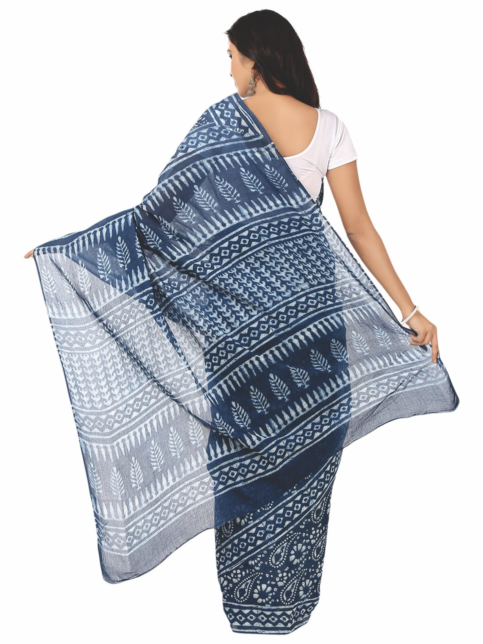Indigo Dabu Hand Block Print Handcrafted Cotton Saree-Saree-Kalakari India-BAPASA0018-Cotton, Dabu, Geographical Indication, Hand Blocks, Hand Crafted, Heritage Prints, Indigo, Natural Dyes, Sarees, Sustainable Fabrics-[Linen,Ethnic,wear,Fashionista,Handloom,Handicraft,Indigo,blockprint,block,print,Cotton,Chanderi,Blue, latest,classy,party,bollywood,trendy,summer,style,traditional,formal,elegant,unique,style,hand,block,print, dabu,booti,gift,present,glamorous,affordable,collectible,Sari,Saree,pr