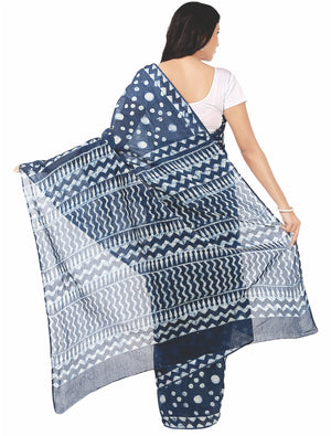 Indigo Dabu Hand Block Print Handcrafted Cotton Saree-Saree-Kalakari India-BAPASA0019-Cotton, Dabu, Geographical Indication, Hand Blocks, Hand Crafted, Heritage Prints, Indigo, Natural Dyes, Sarees, Sustainable Fabrics-[Linen,Ethnic,wear,Fashionista,Handloom,Handicraft,Indigo,blockprint,block,print,Cotton,Chanderi,Blue, latest,classy,party,bollywood,trendy,summer,style,traditional,formal,elegant,unique,style,hand,block,print, dabu,booti,gift,present,glamorous,affordable,collectible,Sari,Saree,pr