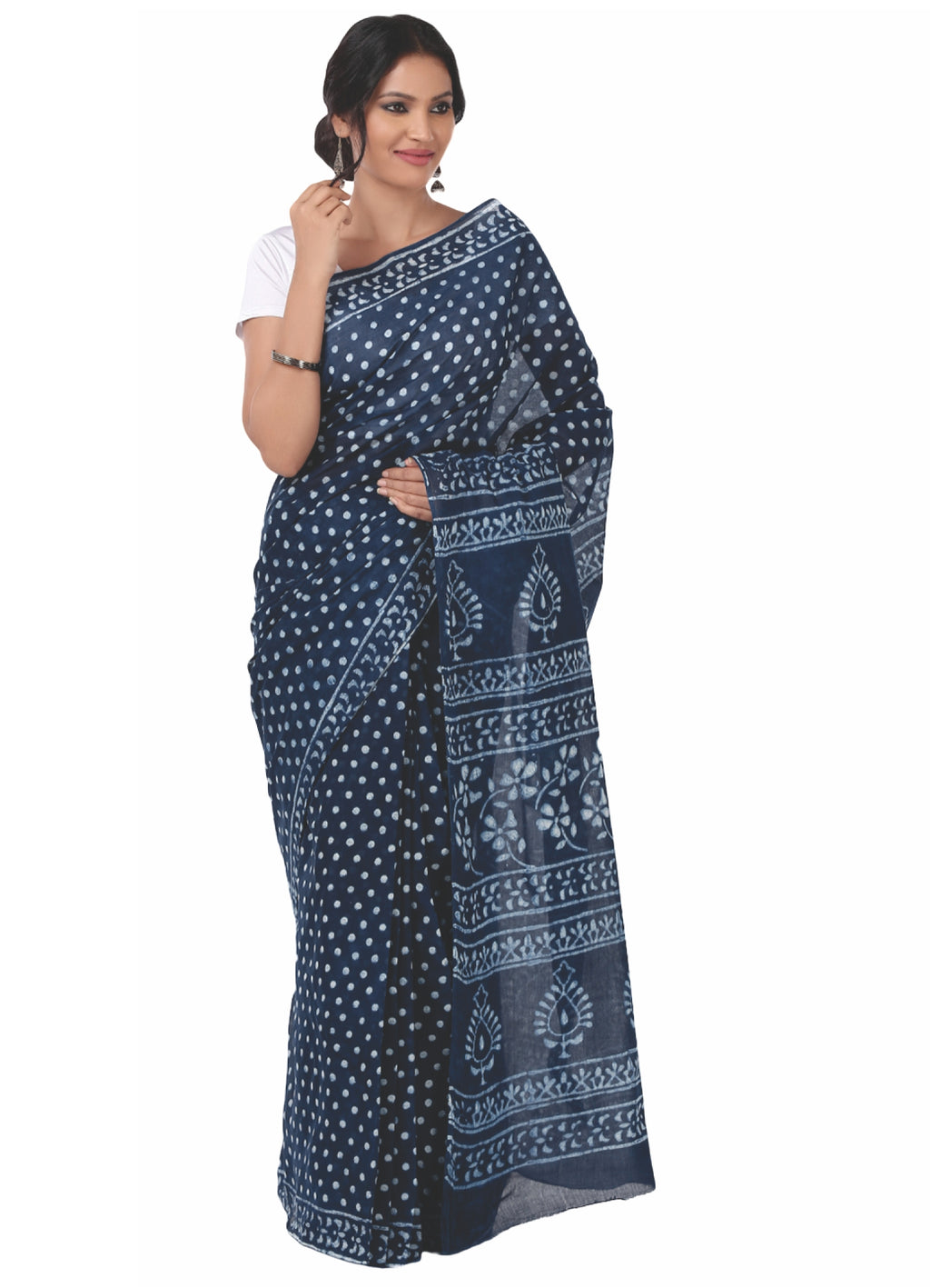 Indigo Dabu Hand Block Print Handcrafted Cotton Saree-Saree-Kalakari India-BAPASA0010-Cotton, Dabu, Geographical Indication, Hand Blocks, Hand Crafted, Heritage Prints, Indigo, Natural Dyes, Sarees, Sustainable Fabrics-[Linen,Ethnic,wear,Fashionista,Handloom,Handicraft,Indigo,blockprint,block,print,Cotton,Chanderi,Blue, latest,classy,party,bollywood,trendy,summer,style,traditional,formal,elegant,unique,style,hand,block,print, dabu,booti,gift,present,glamorous,affordable,collectible,Sari,Saree,pr
