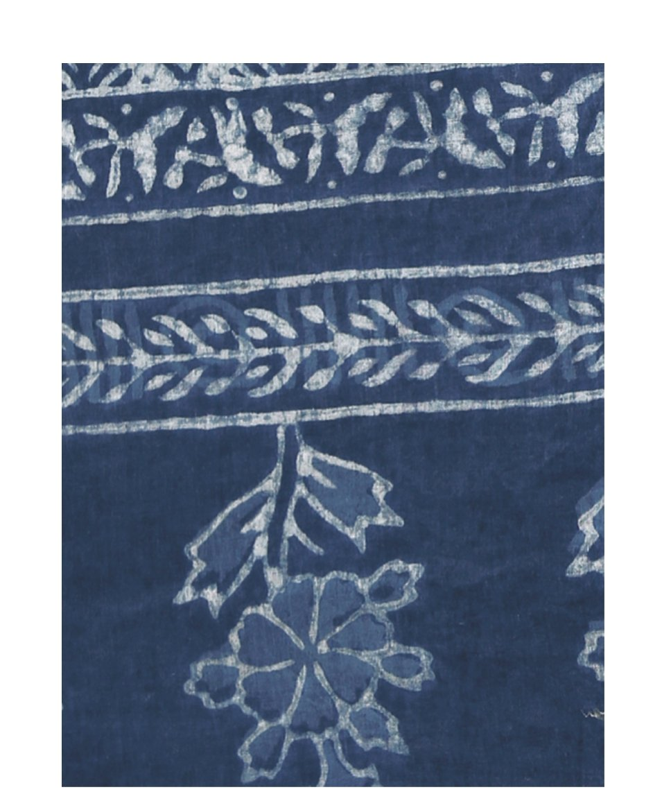 Indigo Dabu Hand Block Print Handcrafted Cotton Saree-Saree-Kalakari India-BAPASA0003-Cotton, Dabu, Geographical Indication, Hand Blocks, Hand Crafted, Heritage Prints, Indigo, Natural Dyes, Sarees, Sustainable Fabrics-[Linen,Ethnic,wear,Fashionista,Handloom,Handicraft,Indigo,blockprint,block,print,Cotton,Chanderi,Blue, latest,classy,party,bollywood,trendy,summer,style,traditional,formal,elegant,unique,style,hand,block,print, dabu,booti,gift,present,glamorous,affordable,collectible,Sari,Saree,pr
