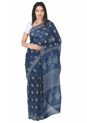 Indigo Dabu Hand Block Print Handcrafted Cotton Saree-Saree-Kalakari India-BAPASA0005-Cotton, Dabu, Geographical Indication, Hand Blocks, Hand Crafted, Heritage Prints, Indigo, Natural Dyes, Sarees, Sustainable Fabrics-[Linen,Ethnic,wear,Fashionista,Handloom,Handicraft,Indigo,blockprint,block,print,Cotton,Chanderi,Blue, latest,classy,party,bollywood,trendy,summer,style,traditional,formal,elegant,unique,style,hand,block,print, dabu,booti,gift,present,glamorous,affordable,collectible,Sari,Saree,pr