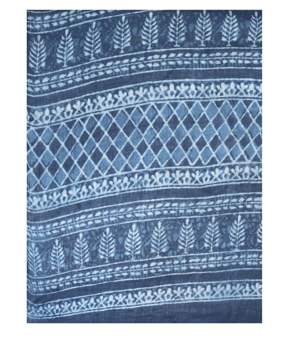 Indigo Dabu Hand Block Print Handcrafted Cotton Saree-Saree-Kalakari India-BAPASA0006-Cotton, Dabu, Geographical Indication, Hand Blocks, Hand Crafted, Heritage Prints, Indigo, Natural Dyes, Sarees, Sustainable Fabrics-[Linen,Ethnic,wear,Fashionista,Handloom,Handicraft,Indigo,blockprint,block,print,Cotton,Chanderi,Blue, latest,classy,party,bollywood,trendy,summer,style,traditional,formal,elegant,unique,style,hand,block,print, dabu,booti,gift,present,glamorous,affordable,collectible,Sari,Saree,pr