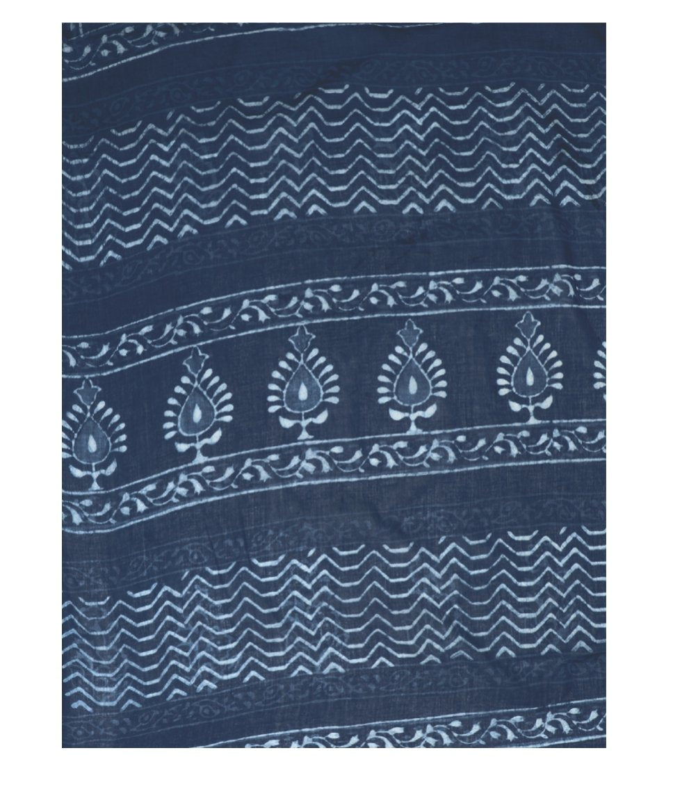 Indigo Dabu Hand Block Print Handcrafted Cotton Saree-Saree-Kalakari India-BAPASA0007-Cotton, Dabu, Geographical Indication, Hand Blocks, Hand Crafted, Heritage Prints, Indigo, Natural Dyes, Sarees, Sustainable Fabrics-[Linen,Ethnic,wear,Fashionista,Handloom,Handicraft,Indigo,blockprint,block,print,Cotton,Chanderi,Blue, latest,classy,party,bollywood,trendy,summer,style,traditional,formal,elegant,unique,style,hand,block,print, dabu,booti,gift,present,glamorous,affordable,collectible,Sari,Saree,pr