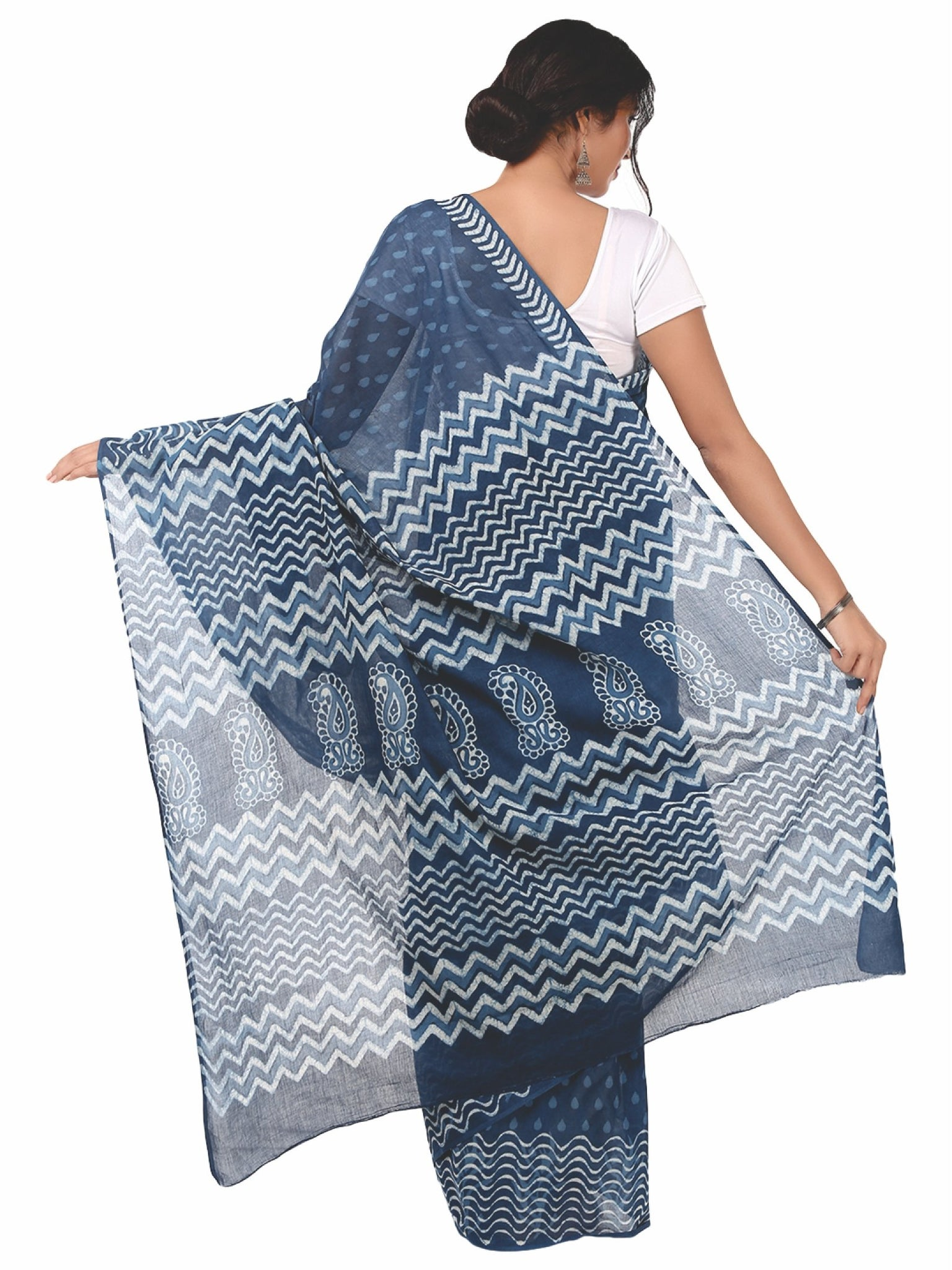 Indigo Dabu Hand Block Print Handcrafted Cotton Saree-Saree-Kalakari India-BAPASA0009-Cotton, Dabu, Geographical Indication, Hand Blocks, Hand Crafted, Heritage Prints, Indigo, Natural Dyes, Sarees, Sustainable Fabrics-[Linen,Ethnic,wear,Fashionista,Handloom,Handicraft,Indigo,blockprint,block,print,Cotton,Chanderi,Blue, latest,classy,party,bollywood,trendy,summer,style,traditional,formal,elegant,unique,style,hand,block,print, dabu,booti,gift,present,glamorous,affordable,collectible,Sari,Saree,pr