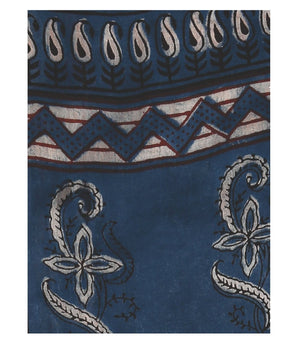 Indigo Tarapur Hand Block Print Handcrafted Cotton Saree-Saree-Kalakari India-BAPASA0021-Cotton, Geographical Indication, Hand Blocks, Hand Crafted, Heritage Prints, Indigo, Natural Dyes, Sarees, Sustainable Fabrics, Tarapur-[Linen,Ethnic,wear,Fashionista,Handloom,Handicraft,Indigo,blockprint,block,print,Cotton,Chanderi,Blue, latest,classy,party,bollywood,trendy,summer,style,traditional,formal,elegant,unique,style,hand,block,print, dabu,booti,gift,present,glamorous,affordable,collectible,Sari,Sa