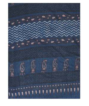 Indigo Tarapur Hand Block Print Handcrafted Cotton Saree-Saree-Kalakari India-BAPASA0022-Cotton, Geographical Indication, Hand Blocks, Hand Crafted, Heritage Prints, Indigo, Natural Dyes, Sarees, Sustainable Fabrics, Tarapur-[Linen,Ethnic,wear,Fashionista,Handloom,Handicraft,Indigo,blockprint,block,print,Cotton,Chanderi,Blue, latest,classy,party,bollywood,trendy,summer,style,traditional,formal,elegant,unique,style,hand,block,print, dabu,booti,gift,present,glamorous,affordable,collectible,Sari,Sa
