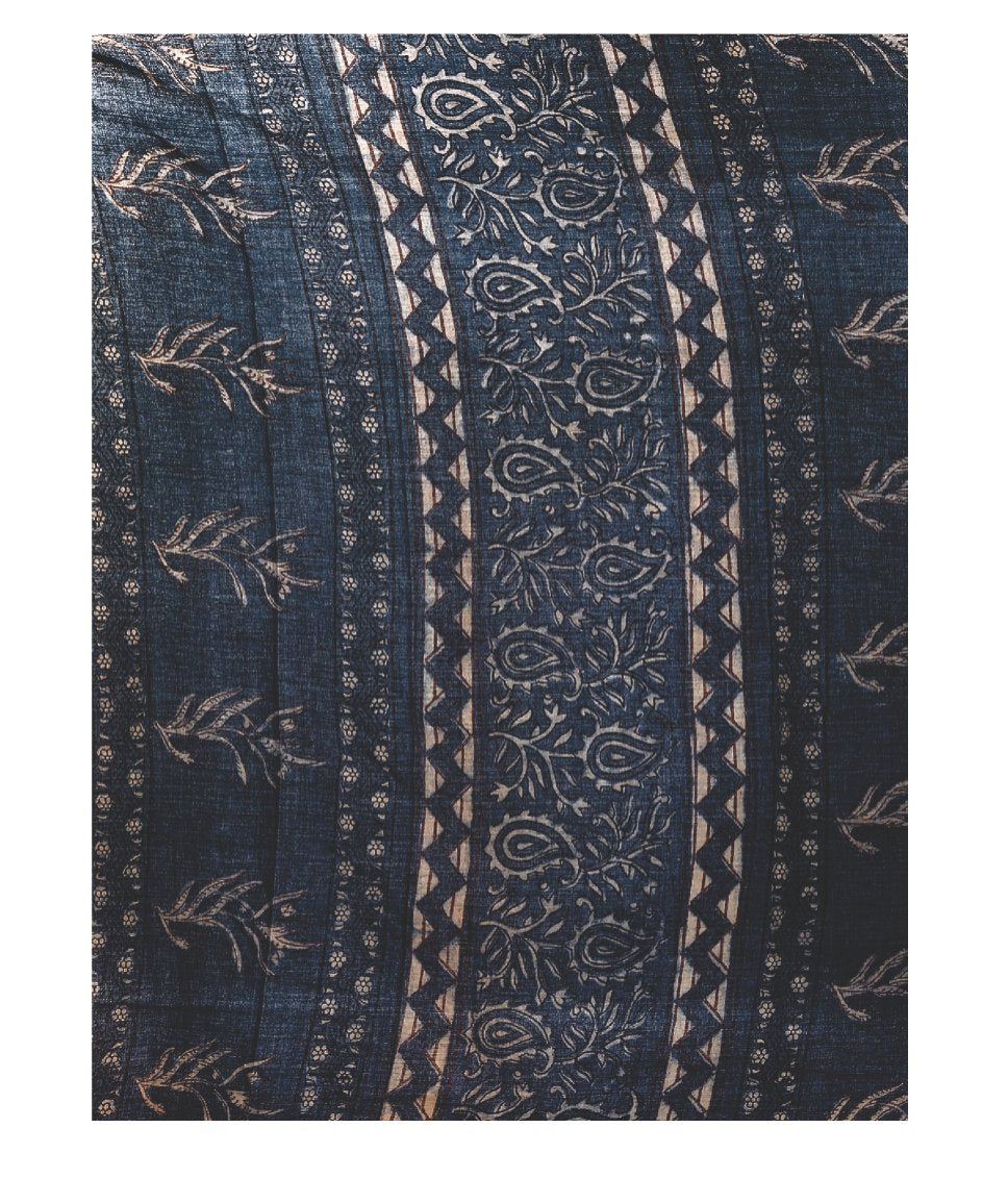 Indigo Tarapur Hand Block Print Handcrafted Cotton Saree-Saree-Kalakari India-BAPASA0024-Cotton, Geographical Indication, Hand Blocks, Hand Crafted, Heritage Prints, Indigo, Natural Dyes, Sarees, Sustainable Fabrics, Tarapur-[Linen,Ethnic,wear,Fashionista,Handloom,Handicraft,Indigo,blockprint,block,print,Cotton,Chanderi,Blue, latest,classy,party,bollywood,trendy,summer,style,traditional,formal,elegant,unique,style,hand,block,print, dabu,booti,gift,present,glamorous,affordable,collectible,Sari,Sa