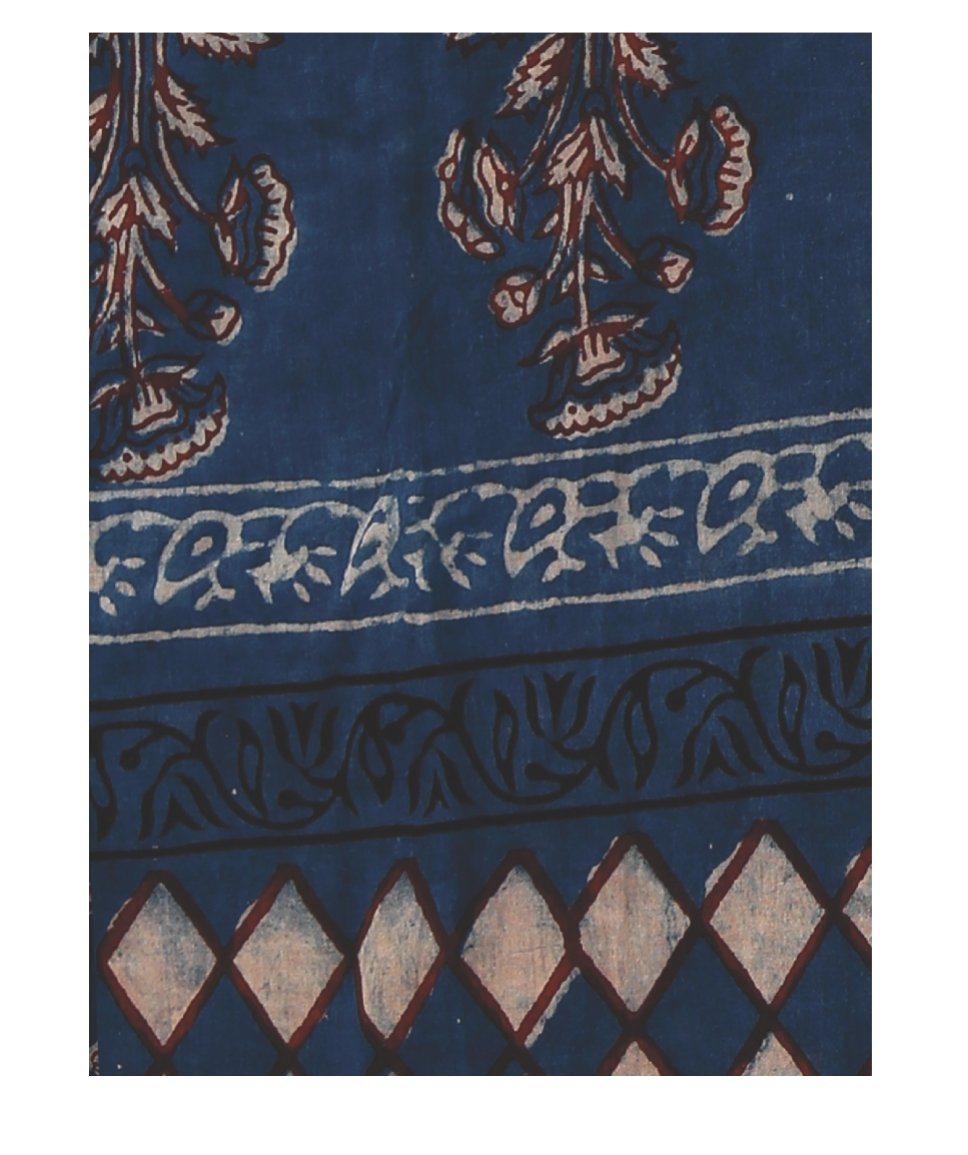 Indigo Tarapur Hand Block Print Handcrafted Cotton Saree-Saree-Kalakari India-BAPASA0027-Cotton, Geographical Indication, Hand Blocks, Hand Crafted, Heritage Prints, Indigo, Natural Dyes, Sarees, Sustainable Fabrics, Tarapur-[Linen,Ethnic,wear,Fashionista,Handloom,Handicraft,Indigo,blockprint,block,print,Cotton,Chanderi,Blue, latest,classy,party,bollywood,trendy,summer,style,traditional,formal,elegant,unique,style,hand,block,print, dabu,booti,gift,present,glamorous,affordable,collectible,Sari,Sa