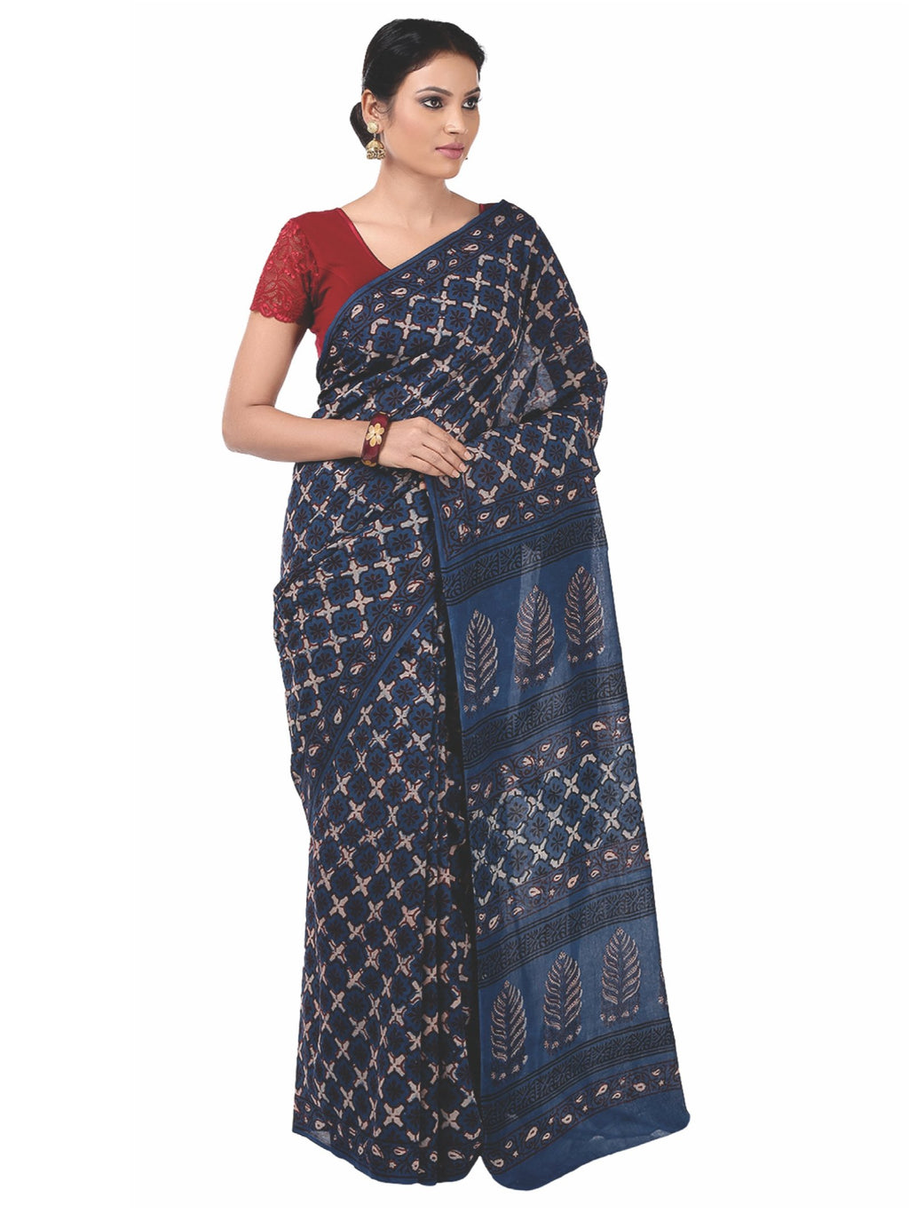 Indigo Tarapur Hand Block Print Handcrafted Cotton Saree-Saree-Kalakari India-BAPASA0028-Cotton, Geographical Indication, Hand Blocks, Hand Crafted, Heritage Prints, Indigo, Natural Dyes, Sarees, Sustainable Fabrics, Tarapur-[Linen,Ethnic,wear,Fashionista,Handloom,Handicraft,Indigo,blockprint,block,print,Cotton,Chanderi,Blue, latest,classy,party,bollywood,trendy,summer,style,traditional,formal,elegant,unique,style,hand,block,print, dabu,booti,gift,present,glamorous,affordable,collectible,Sari,Sa