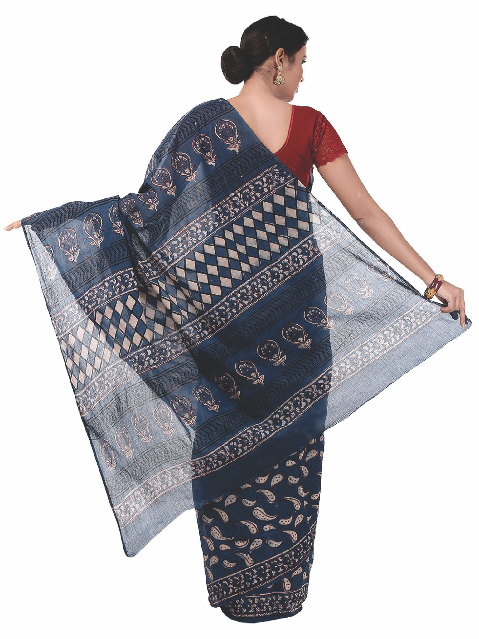 Indigo Tarapur Hand Block Print Handcrafted Cotton Saree-Saree-Kalakari India-BAPASA0029-Cotton, Geographical Indication, Hand Blocks, Hand Crafted, Heritage Prints, Indigo, Natural Dyes, Sarees, Sustainable Fabrics, Tarapur-[Linen,Ethnic,wear,Fashionista,Handloom,Handicraft,Indigo,blockprint,block,print,Cotton,Chanderi,Blue, latest,classy,party,bollywood,trendy,summer,style,traditional,formal,elegant,unique,style,hand,block,print, dabu,booti,gift,present,glamorous,affordable,collectible,Sari,Sa