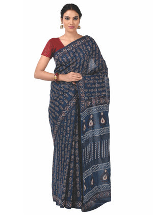 Indigo Tarapur Hand Block Print Handcrafted Cotton Saree-Saree-Kalakari India-BAPASA0030-Cotton, Geographical Indication, Hand Blocks, Hand Crafted, Heritage Prints, Indigo, Natural Dyes, Sarees, Sustainable Fabrics, Tarapur-[Linen,Ethnic,wear,Fashionista,Handloom,Handicraft,Indigo,blockprint,block,print,Cotton,Chanderi,Blue, latest,classy,party,bollywood,trendy,summer,style,traditional,formal,elegant,unique,style,hand,block,print, dabu,booti,gift,present,glamorous,affordable,collectible,Sari,Sa