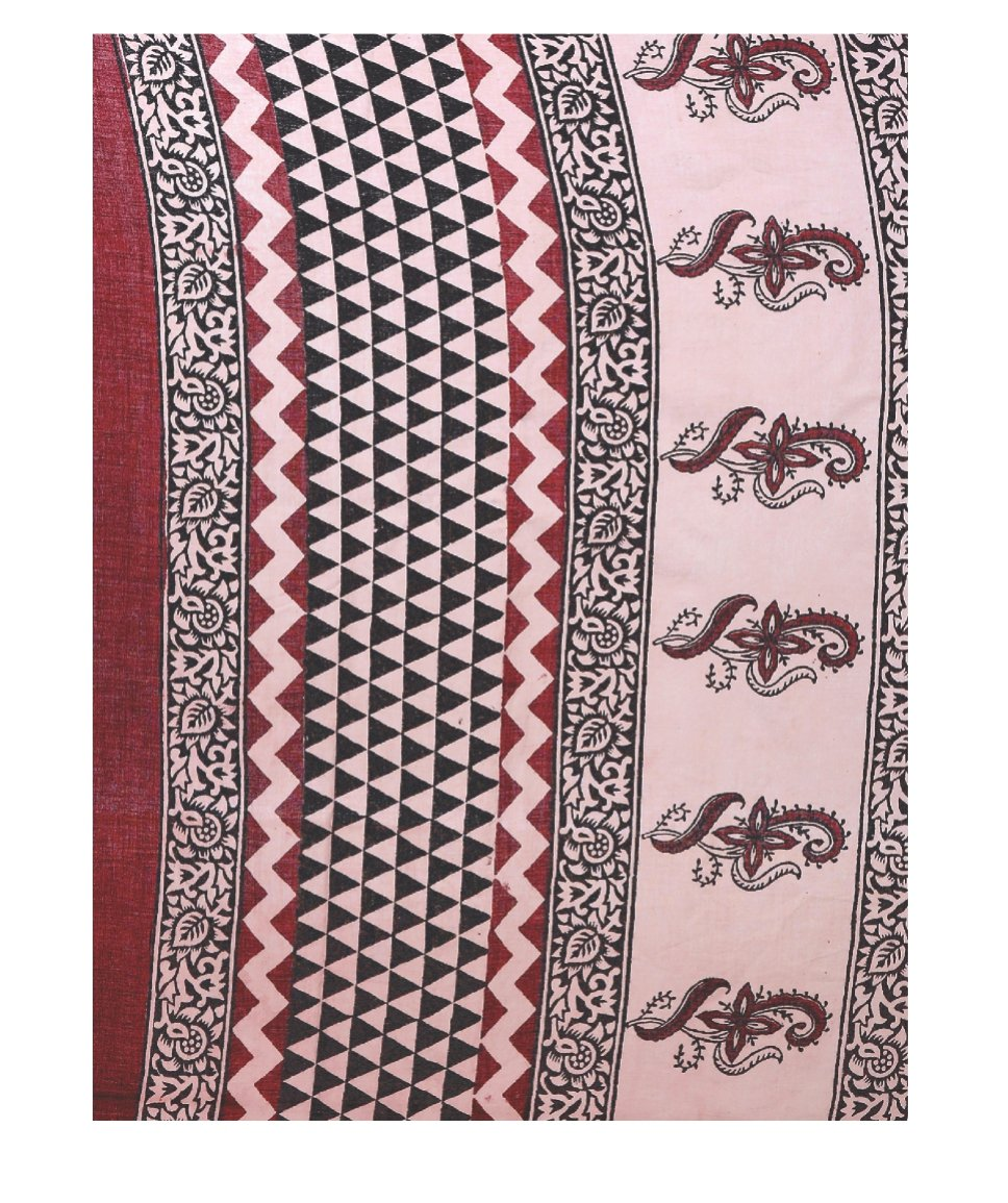Pink & Black Hand Block Bagh Print Handcrafted Cotton Saree-Saree-Kalakari India-BAPASA0035-Bagh, Cotton, Geographical Indication, Hand Blocks, Hand Crafted, Heritage Prints, Sarees, Sustainable Fabrics-[Linen,Ethnic,wear,Fashionista,Handloom,Handicraft,Indigo,blockprint,block,print,Cotton,Chanderi,Blue, latest,classy,party,bollywood,trendy,summer,style,traditional,formal,elegant,unique,style,hand,block,print, dabu,booti,gift,present,glamorous,affordable,collectible,Sari,Saree,printed, holi, Diw