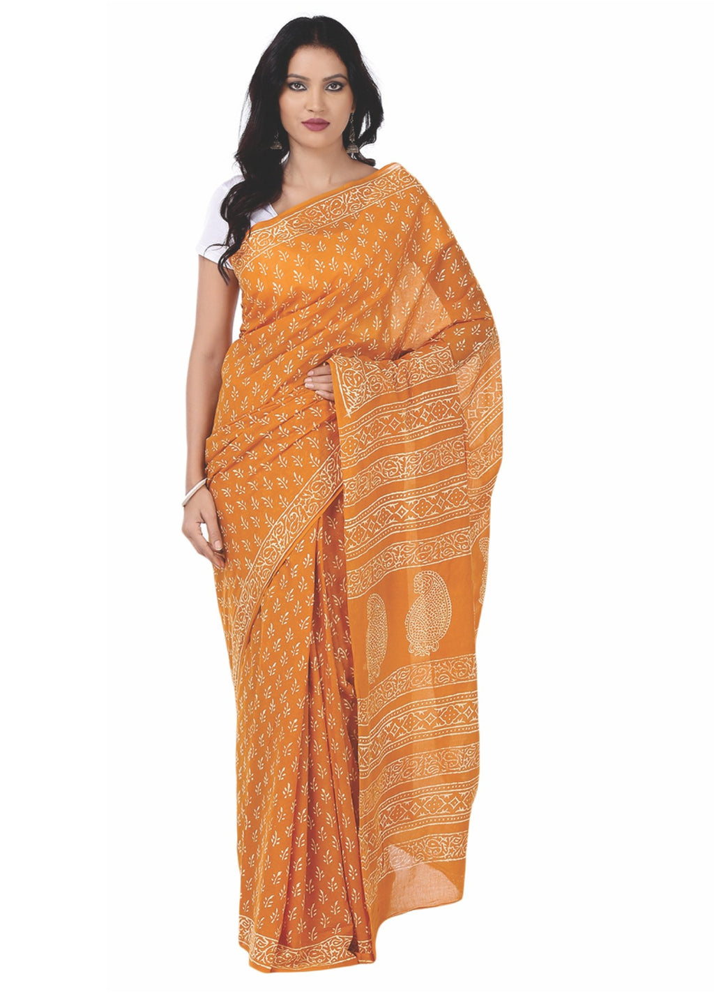 Orange Cotton Coloured Dabu Hand Block Print Handcrafted Cotton Saree-Saree-Kalakari India-BAPASA0036-Cotton, Dabu, Geographical Indication, Hand Blocks, Hand Crafted, Heritage Prints, Sarees, Sustainable Fabrics-[Linen,Ethnic,wear,Fashionista,Handloom,Handicraft,Indigo,blockprint,block,print,Cotton,Chanderi,Blue, latest,classy,party,bollywood,trendy,summer,style,traditional,formal,elegant,unique,style,hand,block,print, dabu,booti,gift,present,glamorous,affordable,collectible,Sari,Saree,printed,