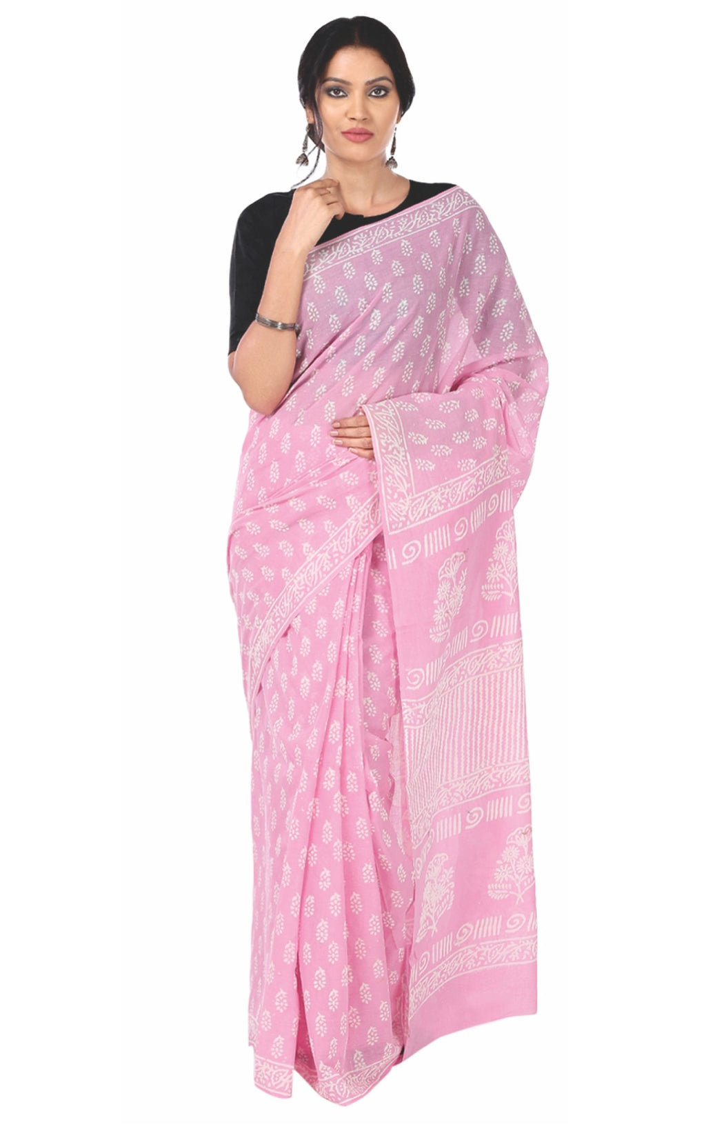 Pink & White Colored Dabu Hand Block Print Handcrafted Cotton Saree-Saree-Kalakari India-BAPASA0037-Cotton, Dabu, Geographical Indication, Hand Blocks, Hand Crafted, Heritage Prints, Sarees, Sustainable Fabrics-[Linen,Ethnic,wear,Fashionista,Handloom,Handicraft,Indigo,blockprint,block,print,Cotton,Chanderi,Blue, latest,classy,party,bollywood,trendy,summer,style,traditional,formal,elegant,unique,style,hand,block,print, dabu,booti,gift,present,glamorous,affordable,collectible,Sari,Saree,printed, h