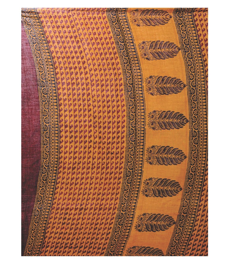 Orange Bagh Hand Block Print Handcrafted Cotton Saree-Saree-Kalakari India-BAPASA0041-Bagh, Cotton, Geographical Indication, Hand Blocks, Hand Crafted, Heritage Prints, Sarees, Sustainable Fabrics-[Linen,Ethnic,wear,Fashionista,Handloom,Handicraft,Indigo,blockprint,block,print,Cotton,Chanderi,Blue, latest,classy,party,bollywood,trendy,summer,style,traditional,formal,elegant,unique,style,hand,block,print, dabu,booti,gift,present,glamorous,affordable,collectible,Sari,Saree,printed, holi, Diwali, b