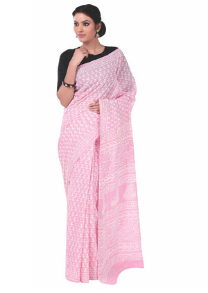Pink Colored Dabu Hand Block Print Handcrafted Cotton Saree-Saree-Kalakari India-BAPASA0042-Cotton, Dabu, Geographical Indication, Hand Blocks, Hand Crafted, Heritage Prints, Sarees, Sustainable Fabrics-[Linen,Ethnic,wear,Fashionista,Handloom,Handicraft,Indigo,blockprint,block,print,Cotton,Chanderi,Blue, latest,classy,party,bollywood,trendy,summer,style,traditional,formal,elegant,unique,style,hand,block,print, dabu,booti,gift,present,glamorous,affordable,collectible,Sari,Saree,printed, holi, Diw