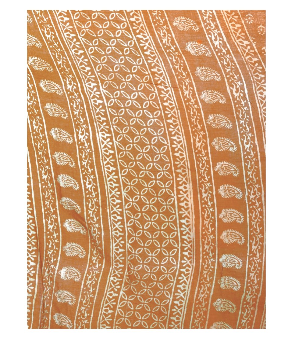 Orange Dabu Hand Block Print Handcrafted Cotton Saree-Saree-Kalakari India-BAPASA0043-Cotton, Dabu, Geographical Indication, Hand Blocks, Hand Crafted, Heritage Prints, Sarees, Sustainable Fabrics-[Linen,Ethnic,wear,Fashionista,Handloom,Handicraft,Indigo,blockprint,block,print,Cotton,Chanderi,Blue, latest,classy,party,bollywood,trendy,summer,style,traditional,formal,elegant,unique,style,hand,block,print, dabu,booti,gift,present,glamorous,affordable,collectible,Sari,Saree,printed, holi, Diwali, b