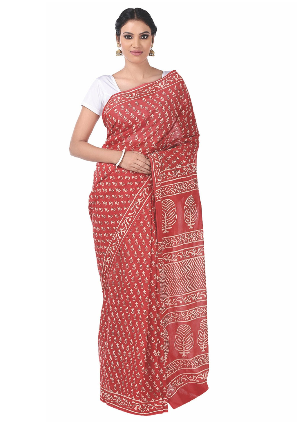 Red Dabu Hand Block Print Handcrafted Cotton Saree-Saree-Kalakari India-BAPASA0044-Cotton, Dabu, Geographical Indication, Hand Blocks, Hand Crafted, Heritage Prints, Sarees, Sustainable Fabrics-[Linen,Ethnic,wear,Fashionista,Handloom,Handicraft,Indigo,blockprint,block,print,Cotton,Chanderi,Blue, latest,classy,party,bollywood,trendy,summer,style,traditional,formal,elegant,unique,style,hand,block,print, dabu,booti,gift,present,glamorous,affordable,collectible,Sari,Saree,printed, holi, Diwali, birt
