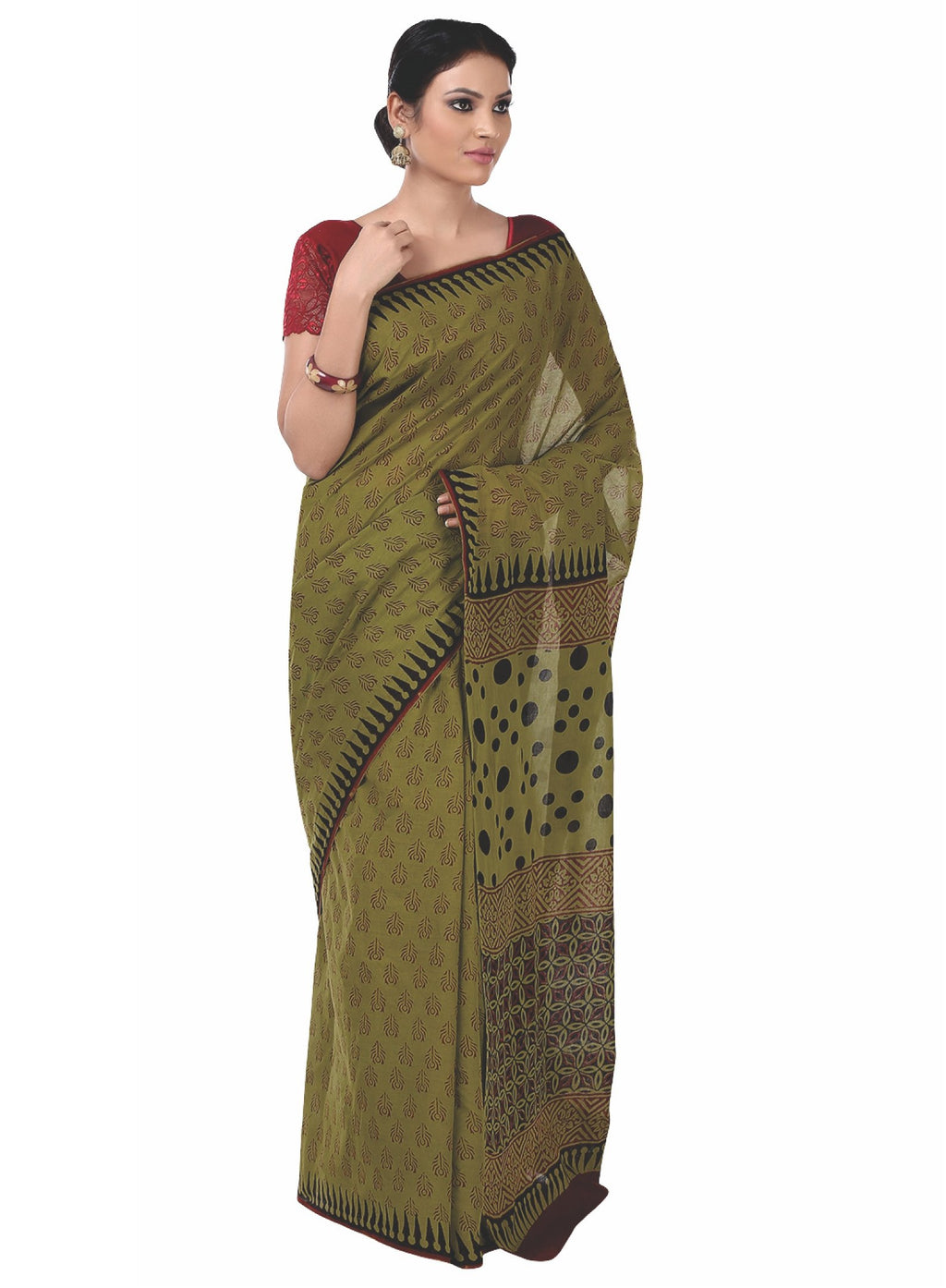 Olive Green Bagh Hand Block Print Handcrafted Cotton Saree-Saree-Kalakari India-BAPASA0046-Bagh, Cotton, Geographical Indication, Hand Blocks, Hand Crafted, Heritage Prints, Sarees, Sustainable Fabrics-[Linen,Ethnic,wear,Fashionista,Handloom,Handicraft,Indigo,blockprint,block,print,Cotton,Chanderi,Blue, latest,classy,party,bollywood,trendy,summer,style,traditional,formal,elegant,unique,style,hand,block,print, dabu,booti,gift,present,glamorous,affordable,collectible,Sari,Saree,printed, holi, Diwa